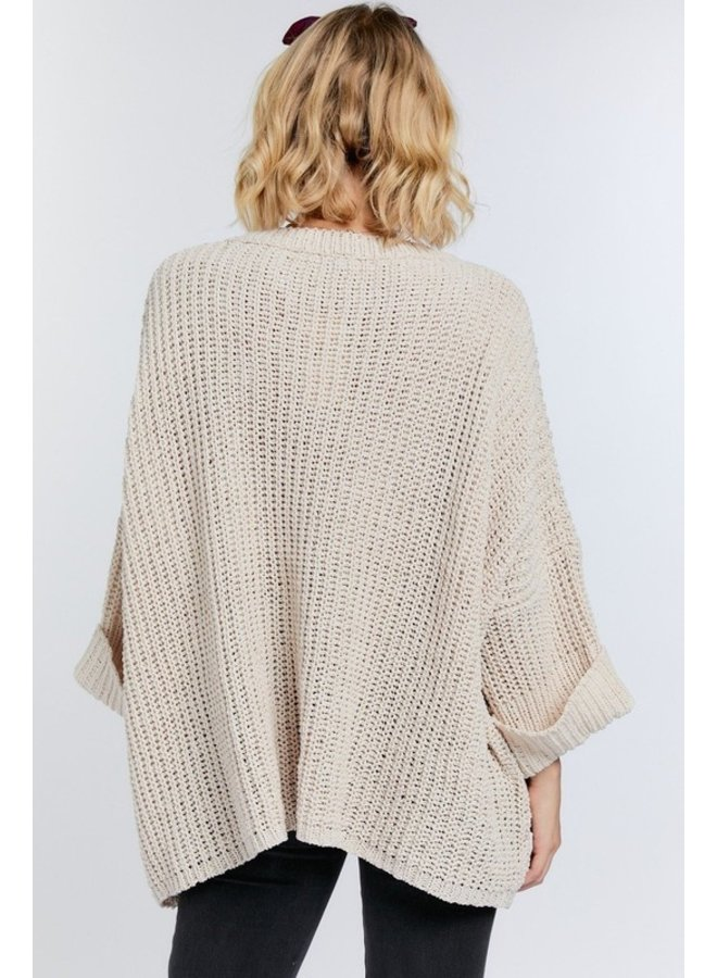 3/4 Sleeve Front Pocket Sweater