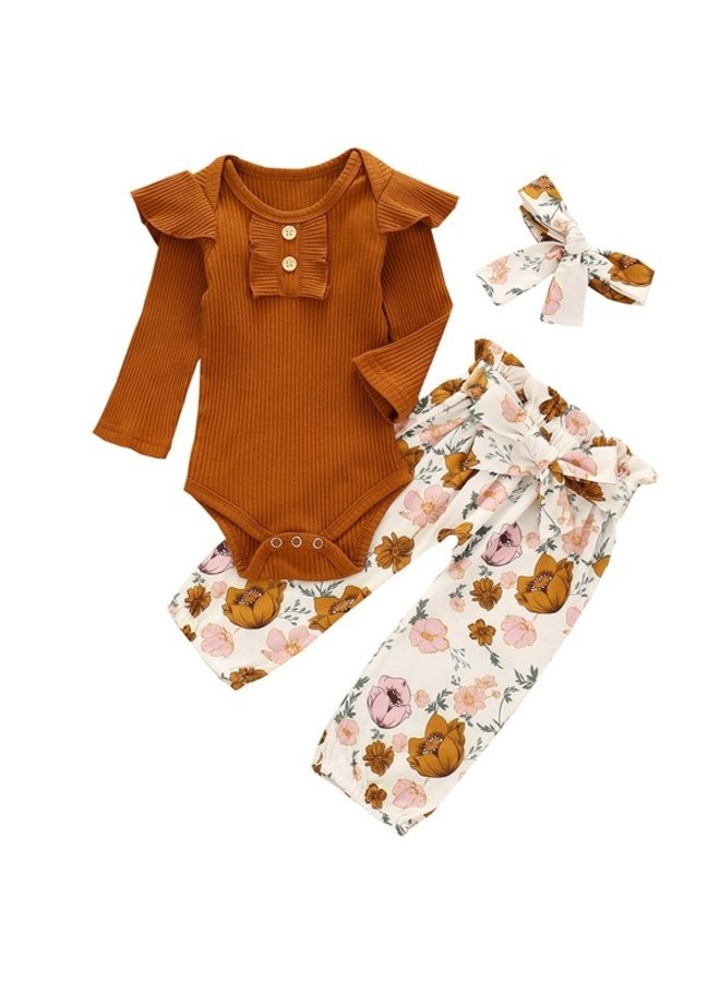 Rust 3-Piece Ruffle and Floral Set