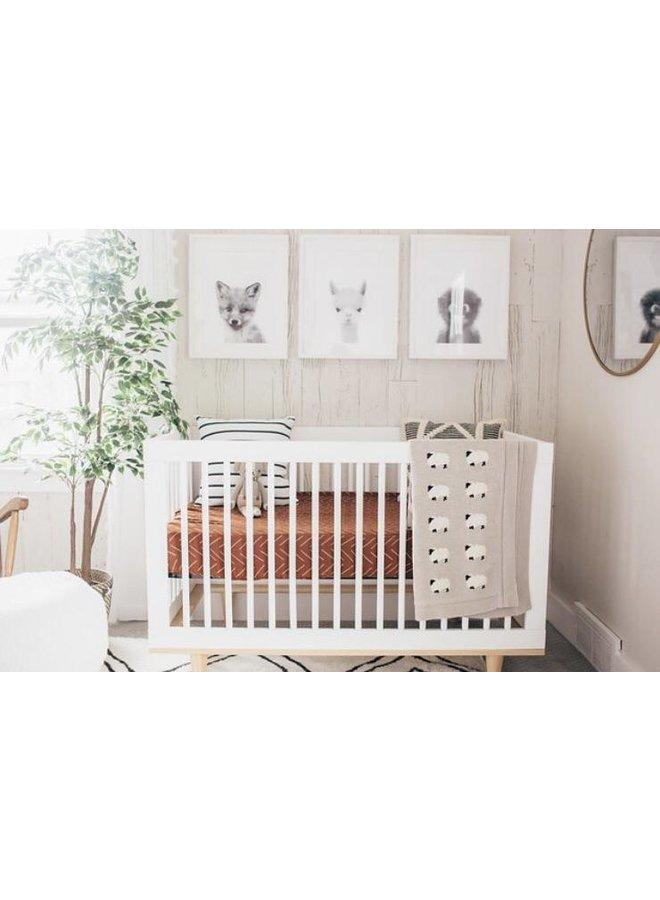 Rust Mudcloth Crib Sheet