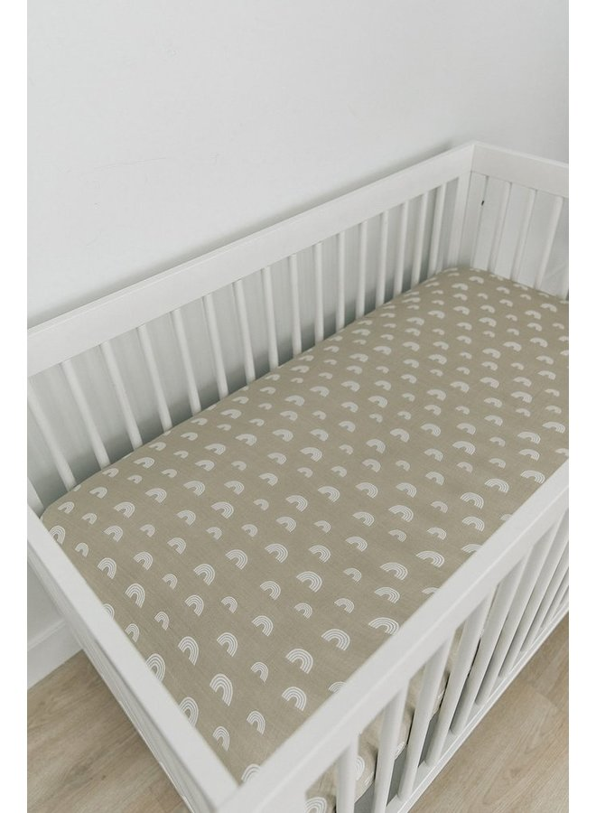 Sand Rainbow Muslin Crib Sheet