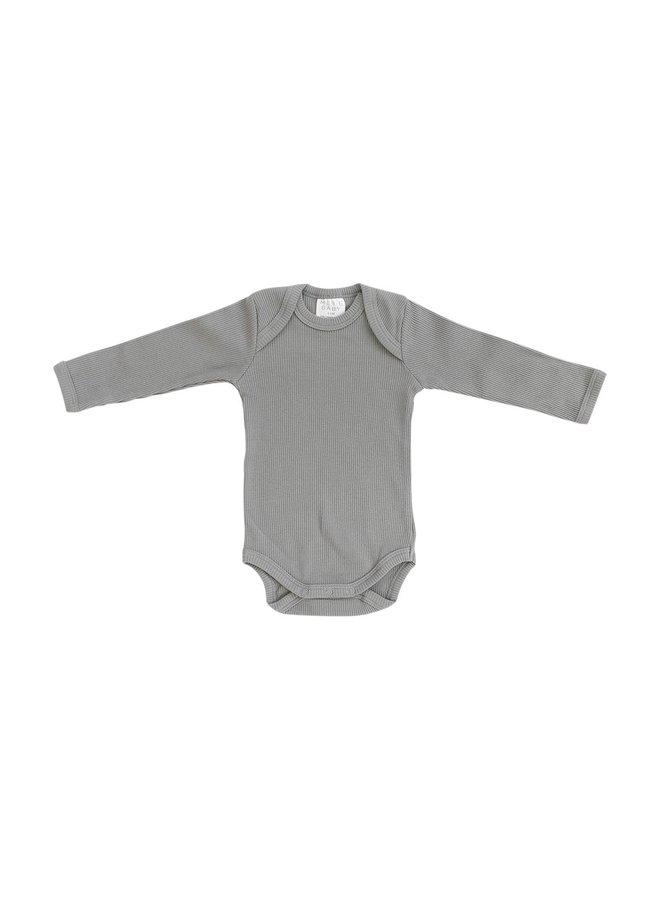 Grey Organic Cotton Ribbed Bodysuit