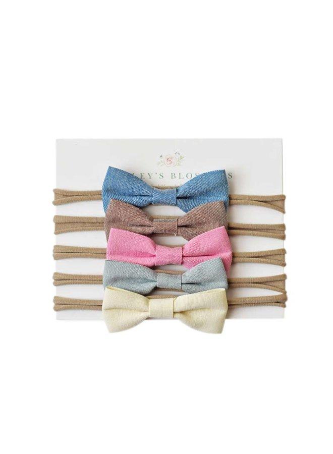 Set of 5 Linen Bows