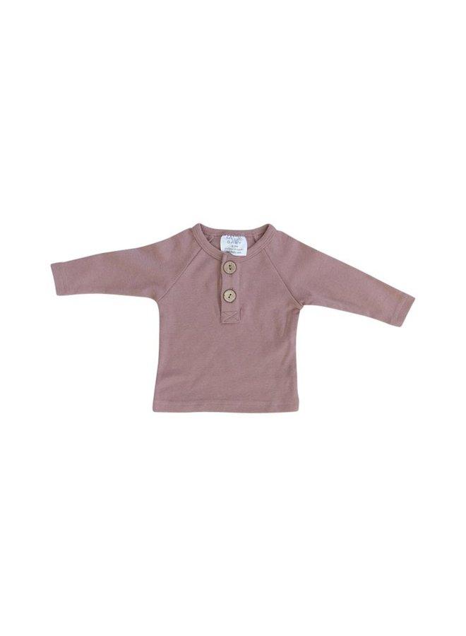 Blush Long Sleeve Button Top