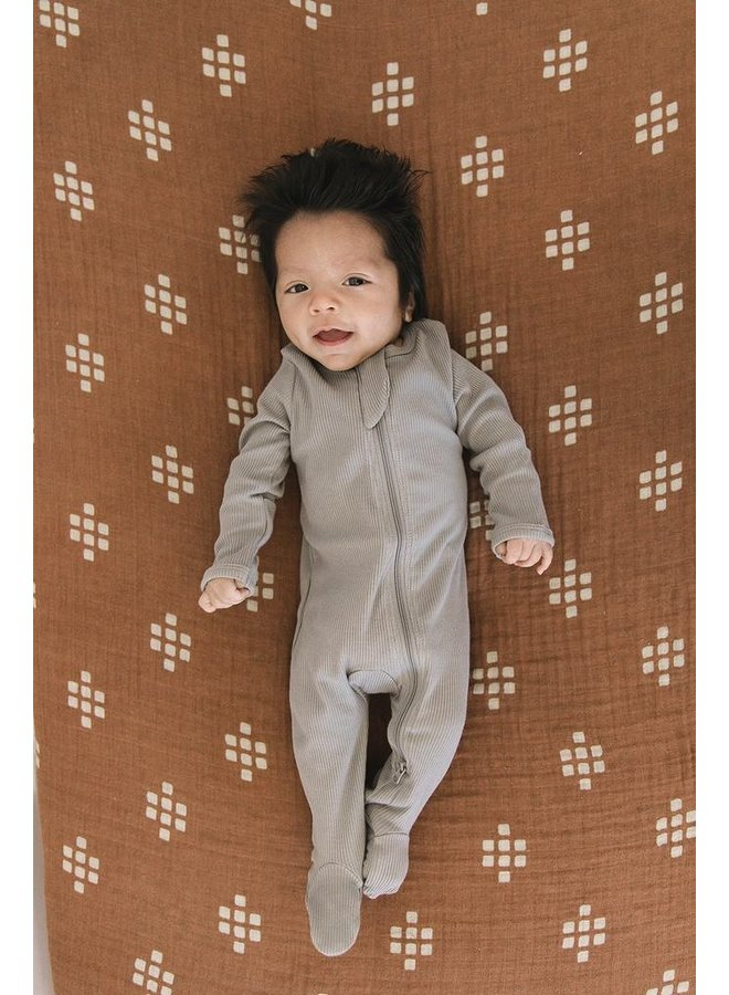 Organic Cotton Ribbed Footed One-Piece, Grey