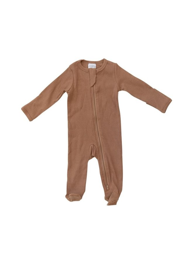 Organic Cotton Ribbed Footed One-Piece, Mustard