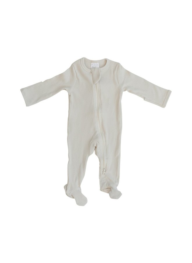 Organic Cotton Ribbed Footed One-Piece, Vanilla