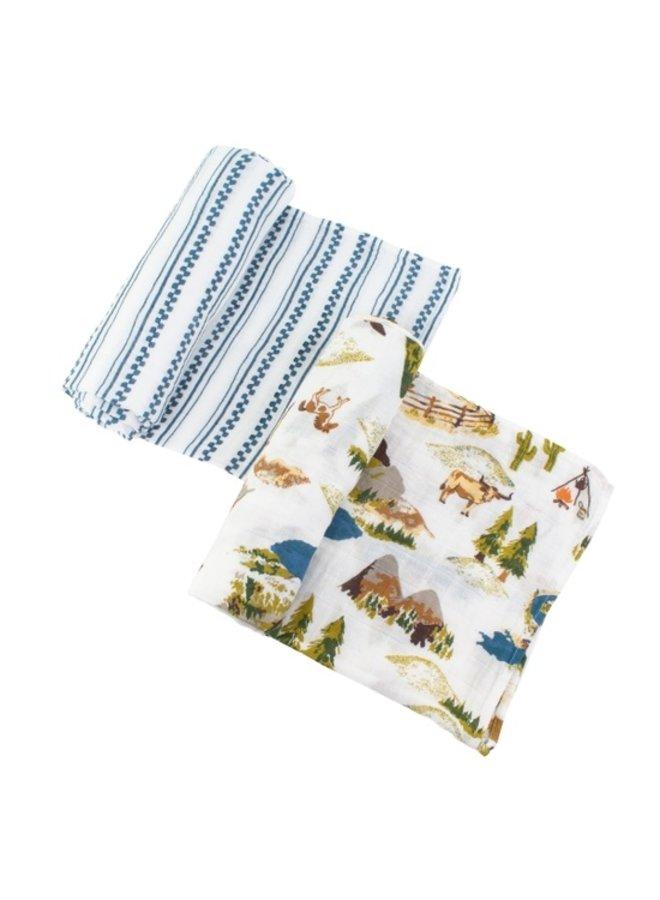 Set of 2 Muslin Swaddle Blankets