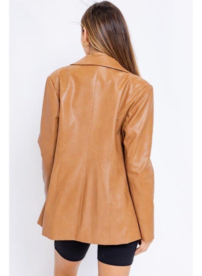 Vegan Leather Blazer