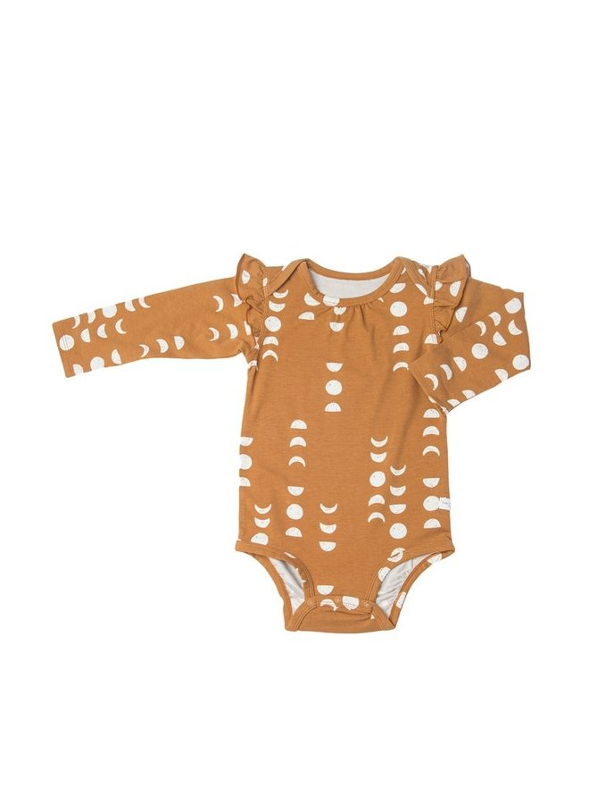 Ruffle Shoulder Moon Bodysuit, 0-3M