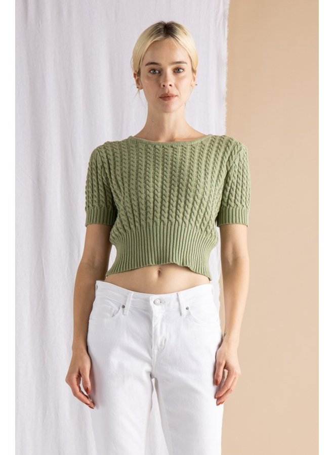 Cropped Cable Sweater Top