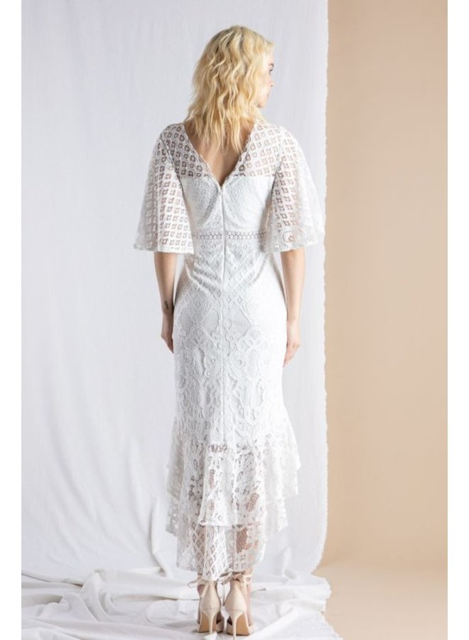 Flutter Sleeve Lace Dress