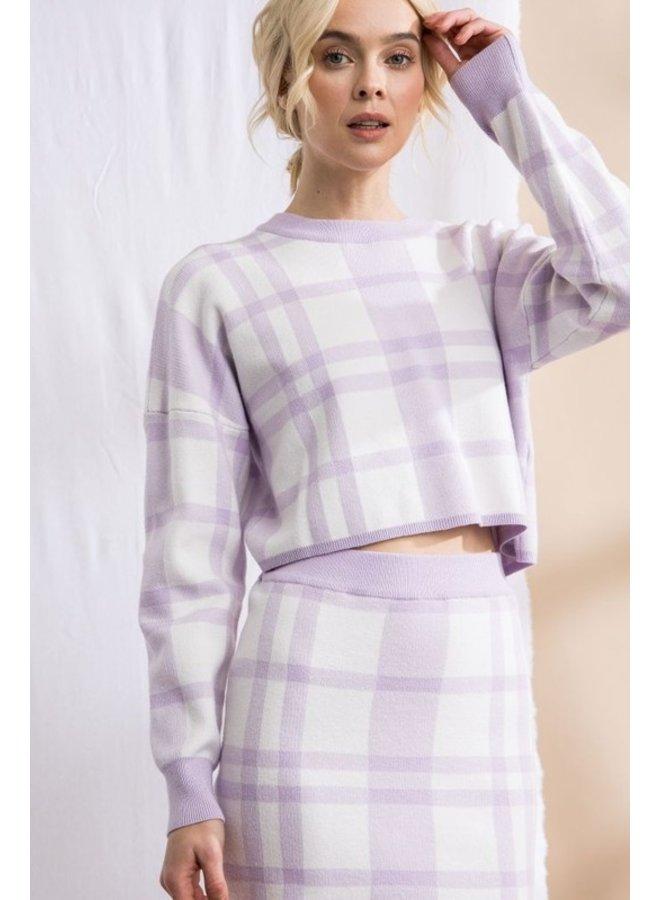 Plaid Sweater Crop Top