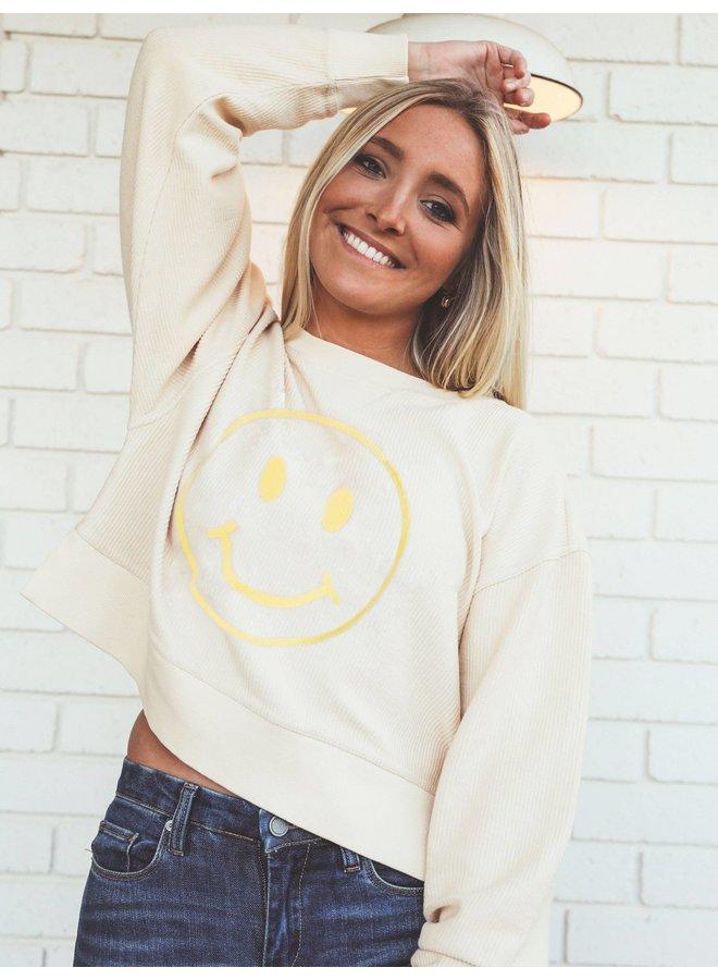 Cropped Corded Smiley Sweatshirt