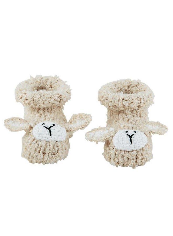 Cream Lamb Knit Booties