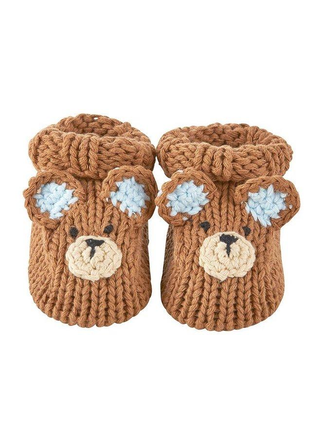 Brown Bear Knit Booties