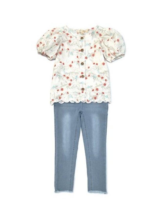 Puff Sleeve Top & Jean Set
