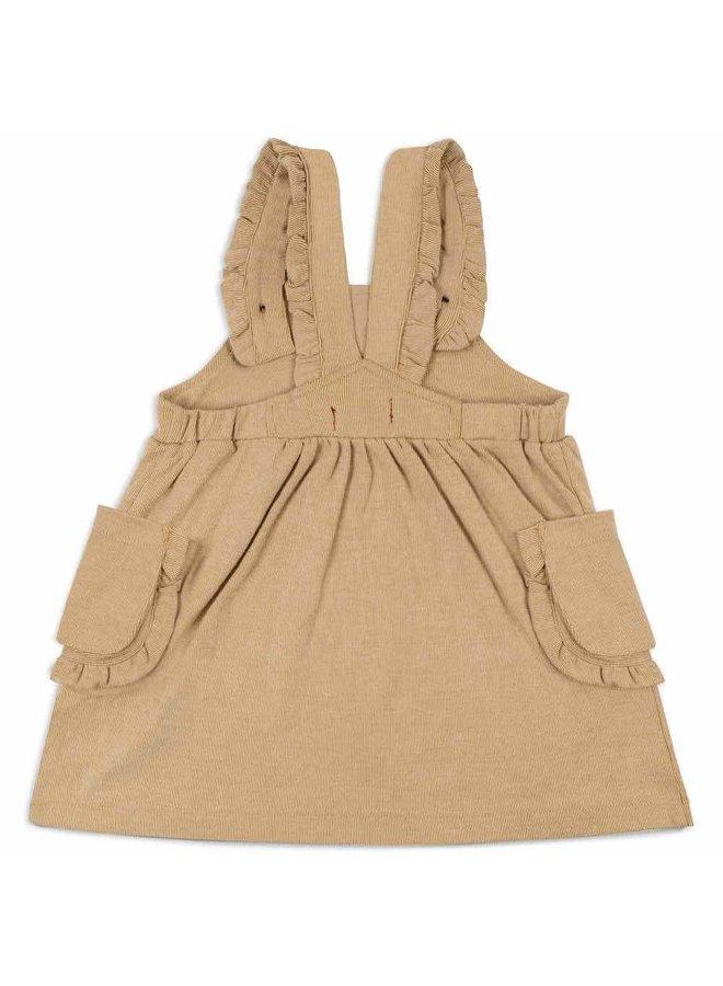 Rust Pinstripe Overall Dress