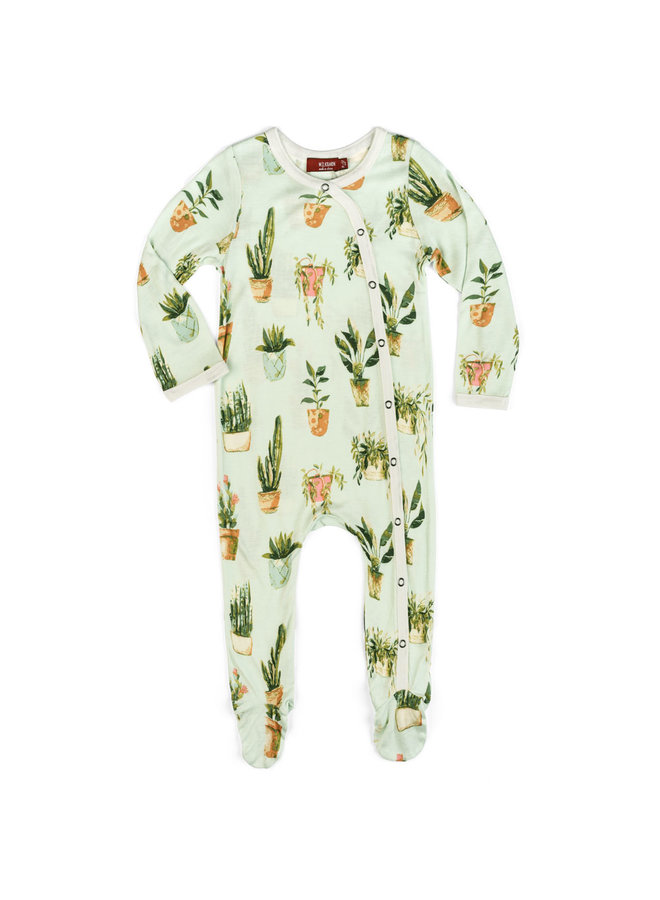 Potted Plants Footed Romper