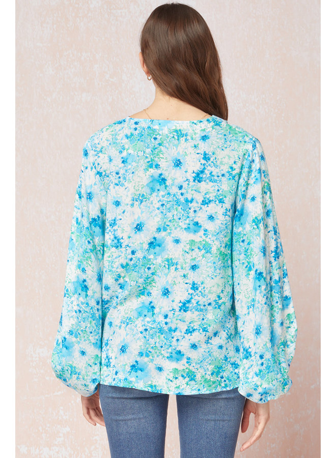 Bubble Sleeve Floral Top