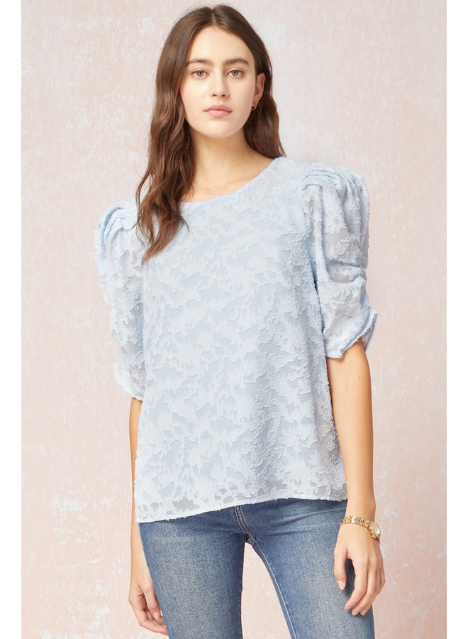 Ruched Sleeve Textured Top