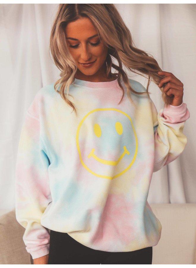 Smiley Tie Dye Corded Sweatshirt