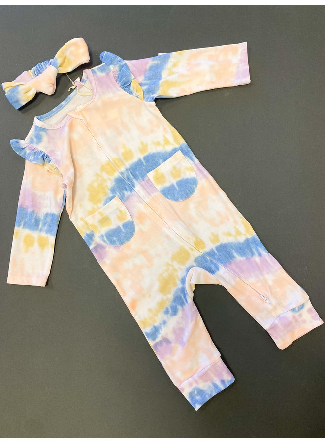 Full Zip Tie Dye Jumpsuit