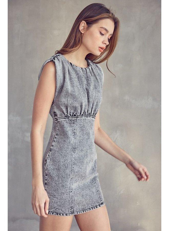 Washed Denim Mini Dress