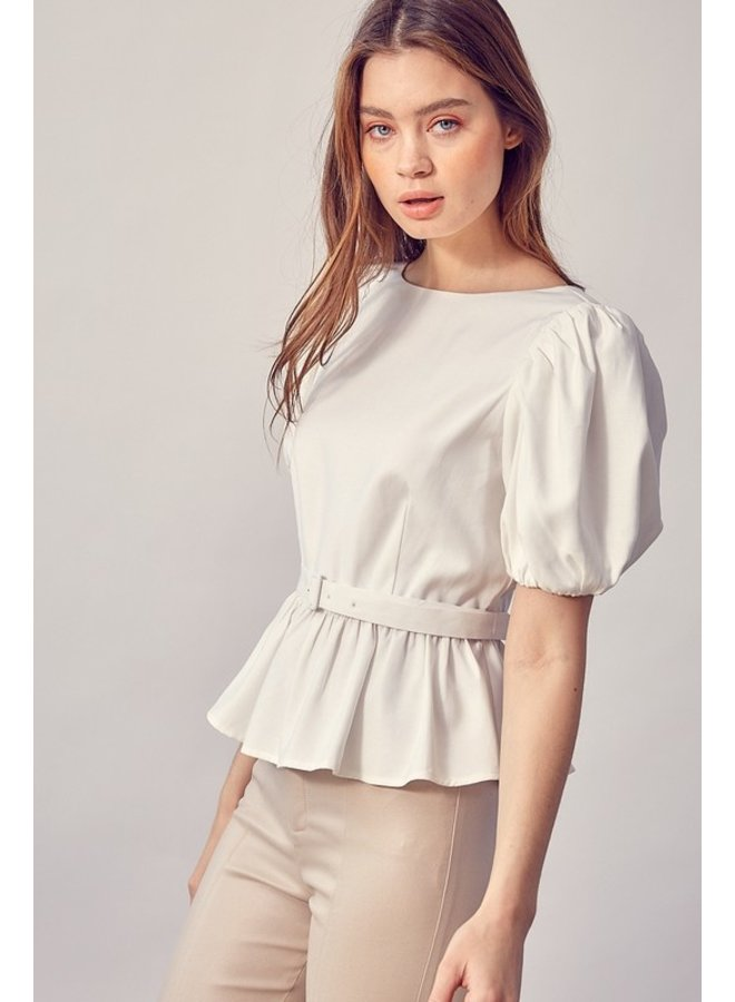 Balloon Sleeve Belted Top