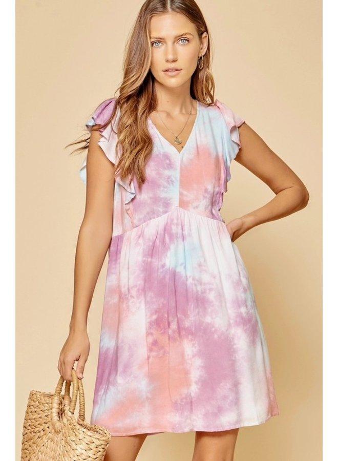 V-Neck Tie Dye Dress