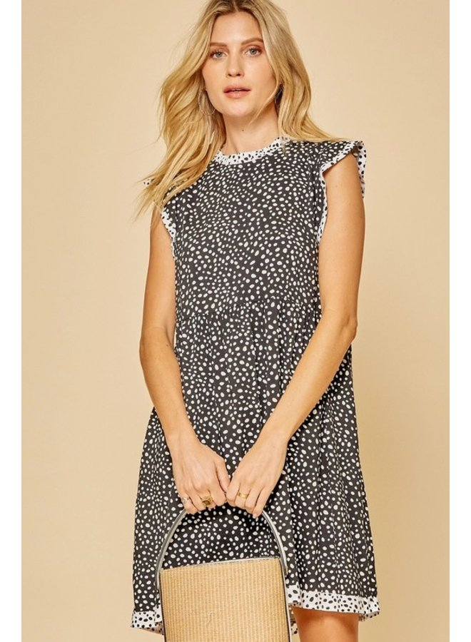 Flutter Sleeve Polka Dot Dress