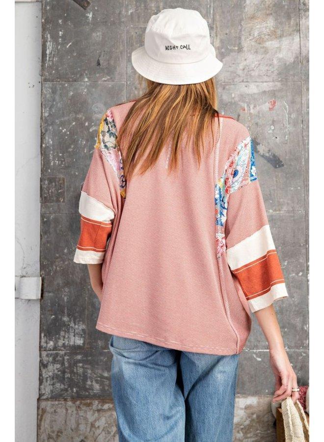 Pin Stripe Floral Top