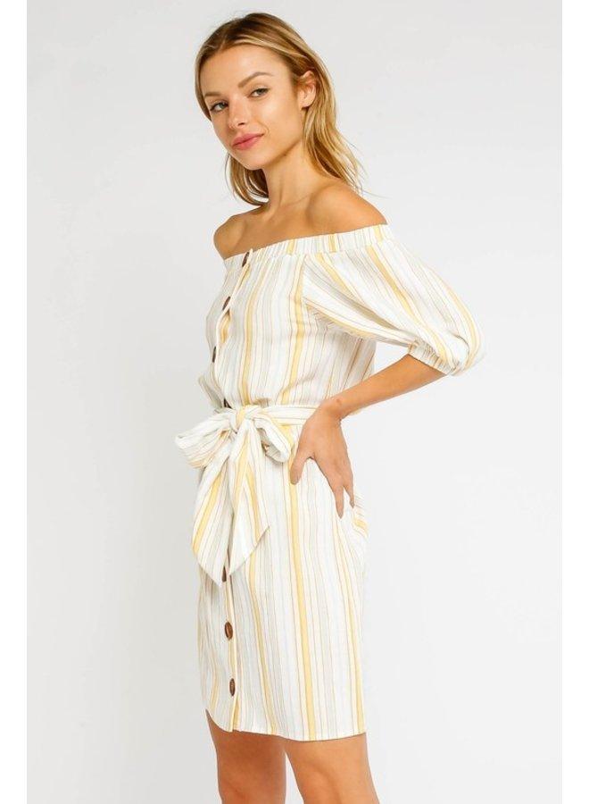 Off-The-Shoulder Stripe Dress