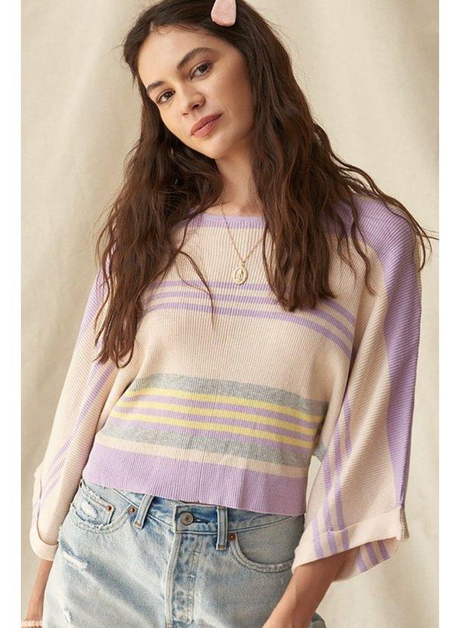 Stripe Bell Sleeve Sweater