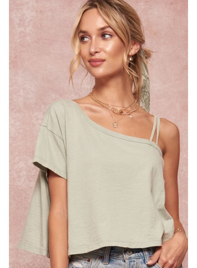 One Shoulder Cropped Tee