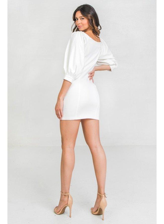White Denim Front Zipper Dress