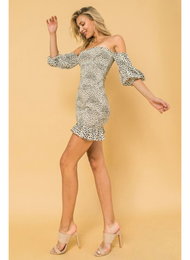 Leopard Smoked Off-The-Shoulder Dress