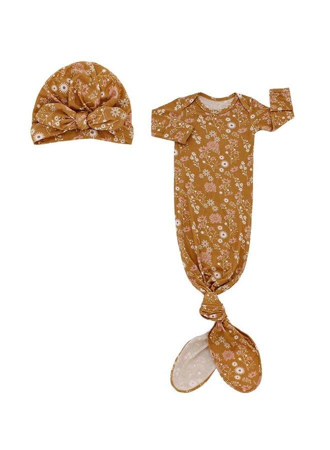 Mustard Floral Newborn Gown & Hat Set