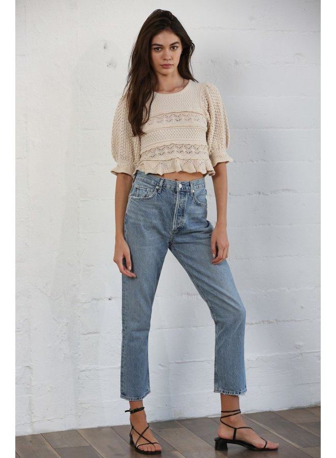 Short Sleeve Cropped Sweater