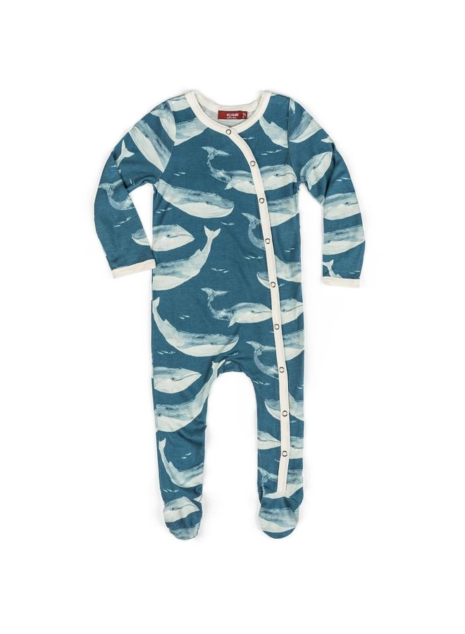 Whale Bamboo Footed Romper