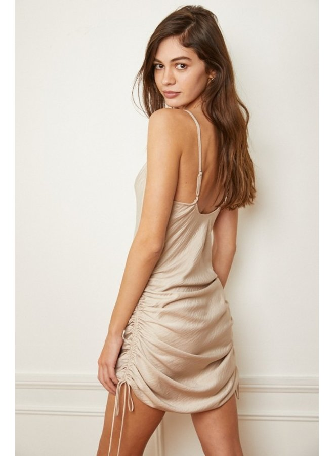 Satin Ruched Cami Dress