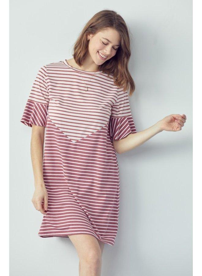 Mixed Stripe Tee Dress