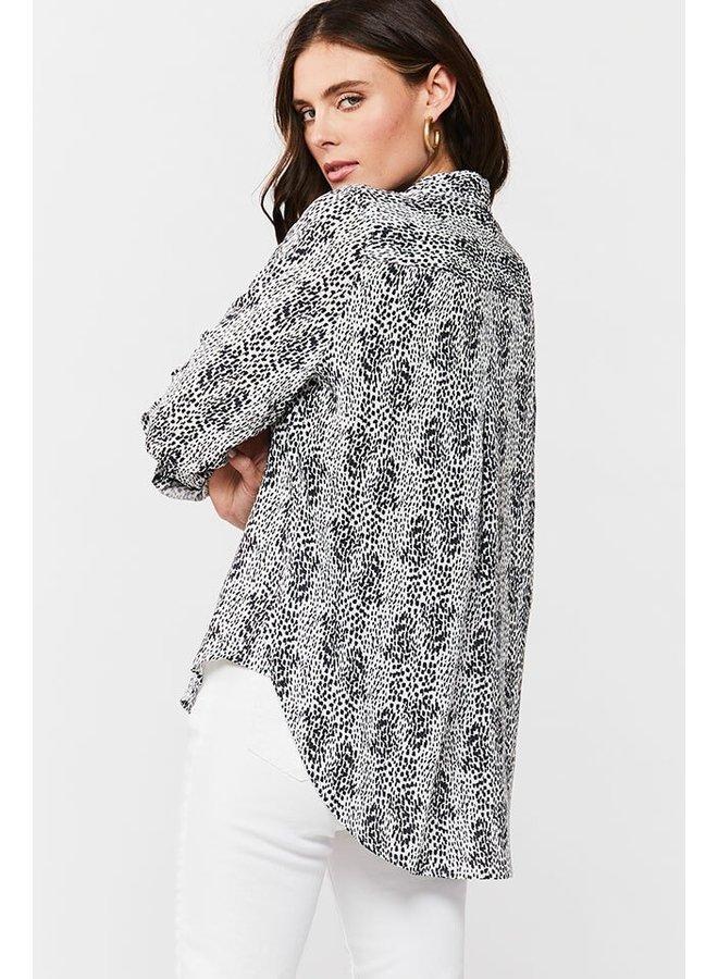 Abstract Tab Sleeve Top