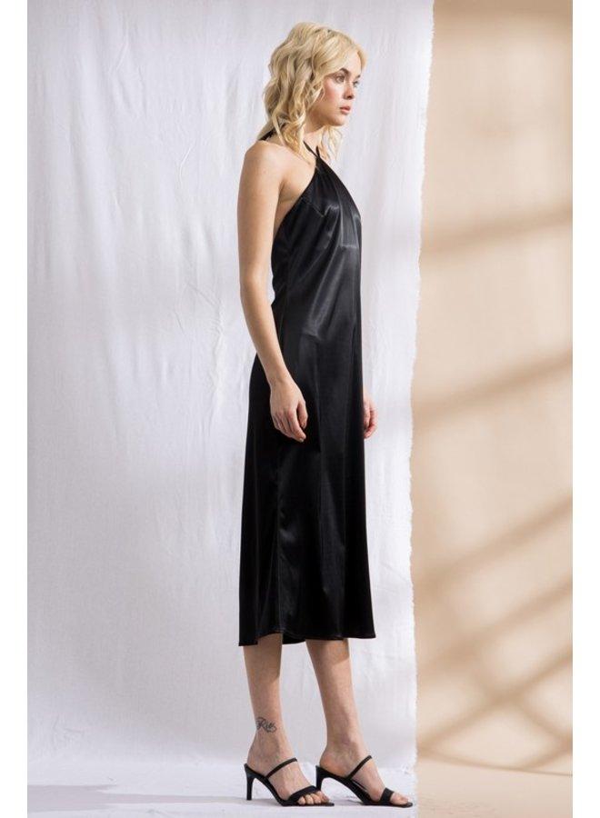 Satin Halter Midi Dress