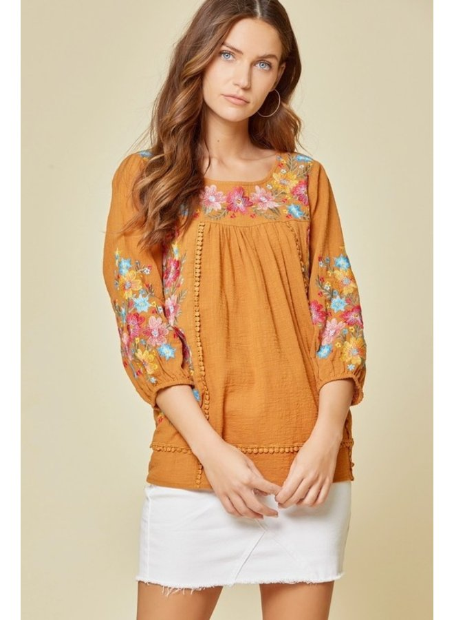 Embroidered 3/4 Sleeve Blouse