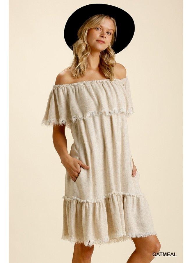 Off-The-Shoulder Frayed Dress