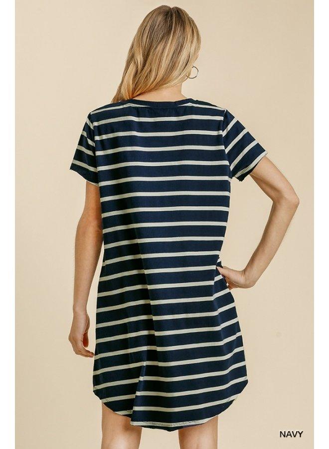 Stripe Tee Dress with Pockets