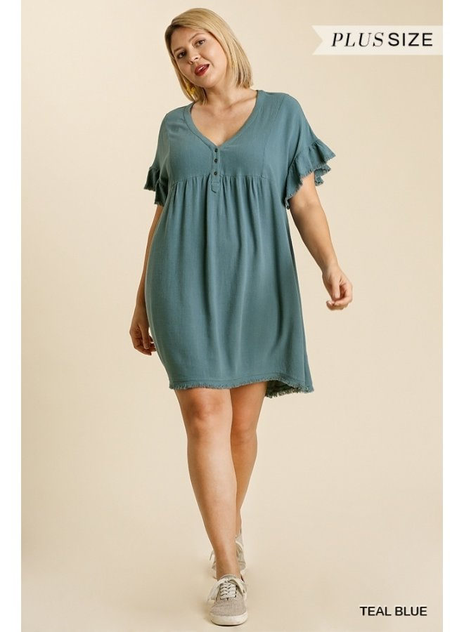 Ruffle Sleeve Frayed Hem Dress