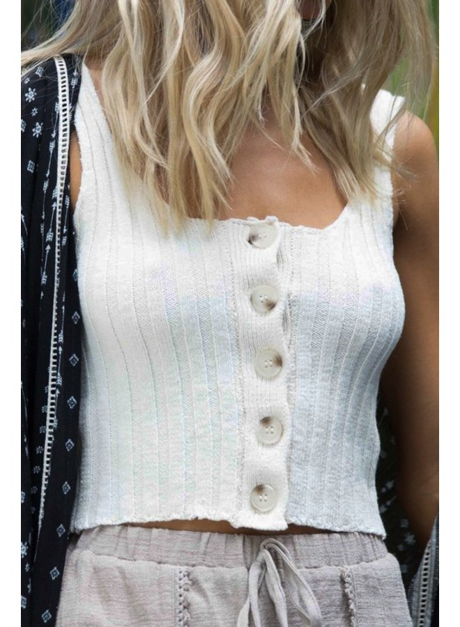 Button Down Ribbed Tank