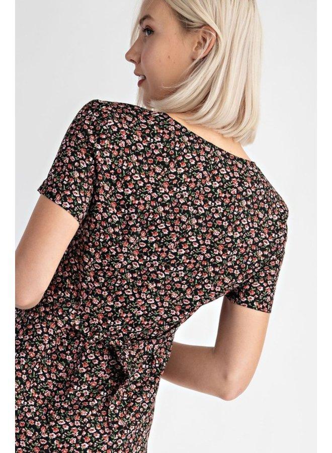 Button Up Floral Mini Dress