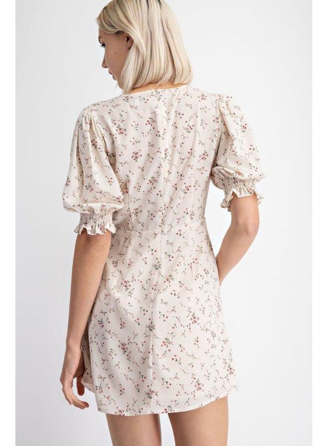 Floral Puff Sleeve Mini Dress